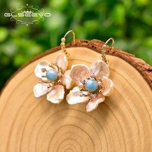 GLSEEVO Handmade barokowy płatek kolczyki z pereł minimalistyczny styl dla kobiet ślub urodziny luksusowa biżuteria Aretes GE0811B
