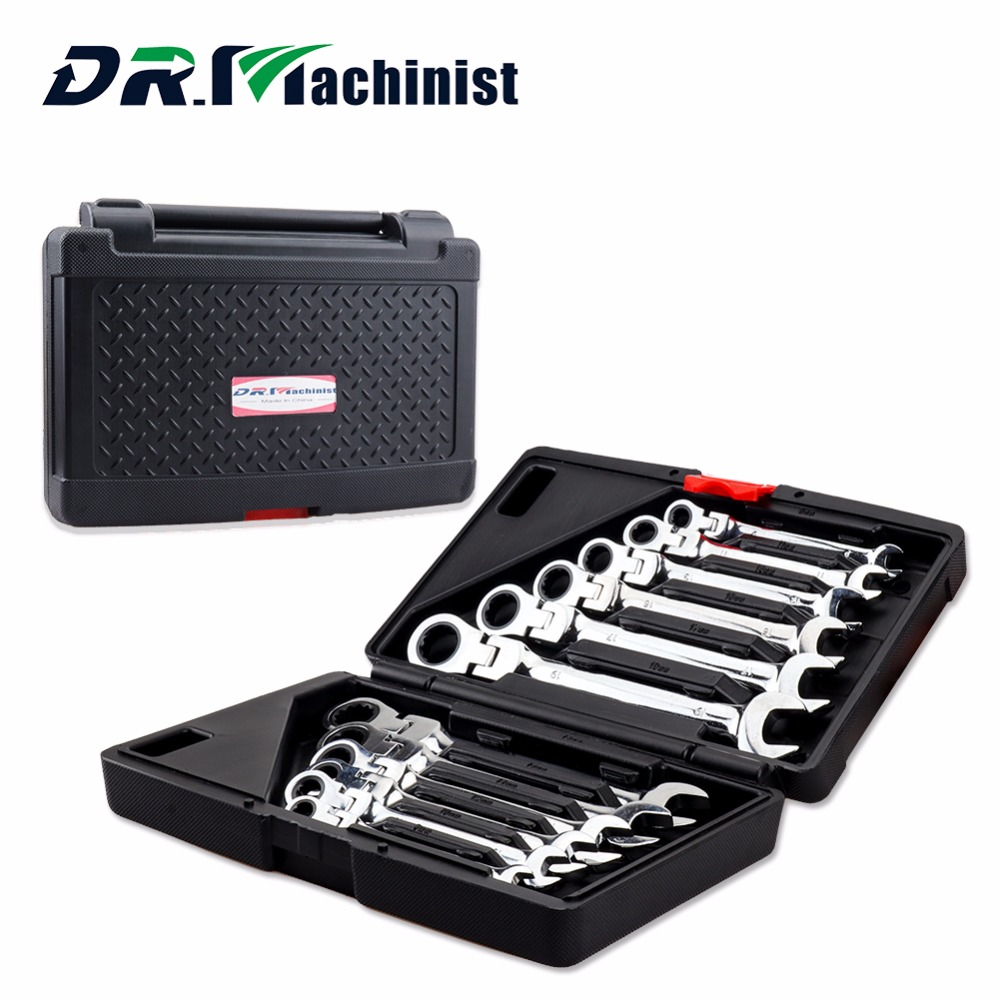 DR.Machinist Carbon Steel 12pcs Set Speed Dual-purpose Ratchet Wrench Set 72 Teeth of Hardware Car Repair Combination Tool xkai 14pcs 6 19mm ratchet spanner combination wrench a set of keys ratchet skate tool ratchet handle chrome vanadium