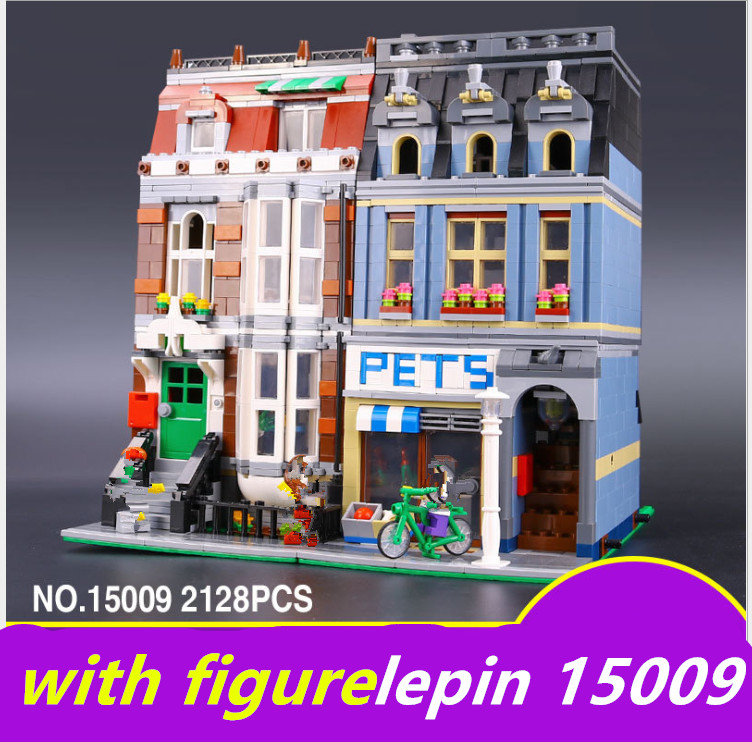 Compatible legoing pet shop 10218 LEPIN 15009 pet shop  City series Supermarket Model City Street Building Blocks Toys 05007 lepin 15009 city street pet shop model building kid blocks bricks assembling toys compatible 10218 educational toy funny gift