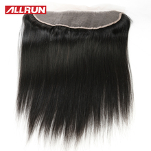 Allrun 13*4 Ear to Ear Lace Frontal Brazilian Straight Hair 100% Natural Color Non-remy Human Hair Weaving