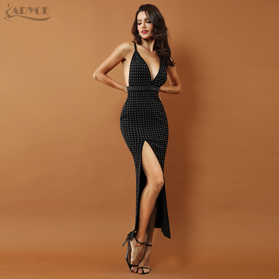 ADYCE Women Celebrity Evening Party Dress 2019 New Black Beaded Sleeveless Sexy Backless Splitting Spaghetti Strap