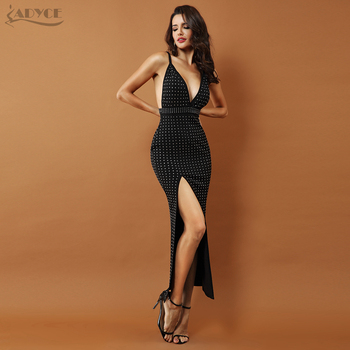 Black Sleeveless Beaded Sexy Backless Splitting Spaghetti Strap Dress Vestido