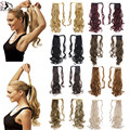 28 colors!!! Drawstring Ponytails Synthetic Kinky Curly Fake Ribbon Wrap Around Ponytail Long Hairpieces Hair Extension P002
