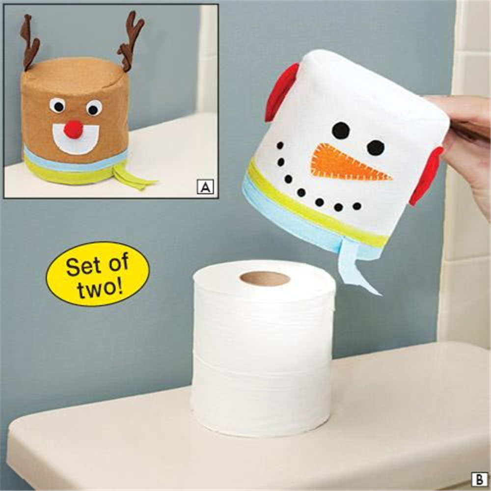 2pclot Merry Christmas Snowman And Elk Toilet Roll Paper