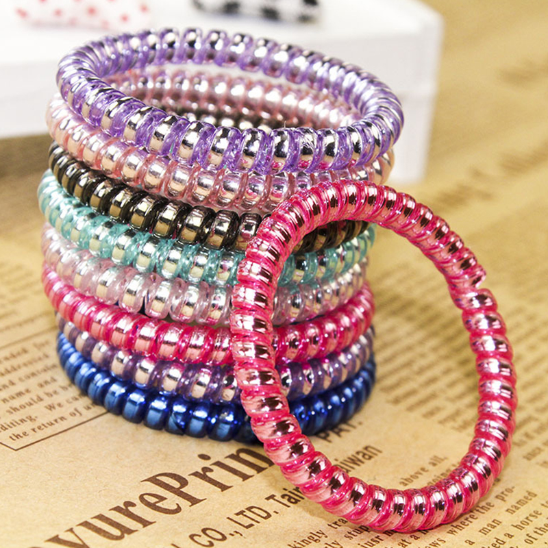 Hair Ties Telephone Wire Hair Accessories Spiral Shape Hair Rope Ponytail Holder Elastic Hair Bands 1PC Popular Rubber Band