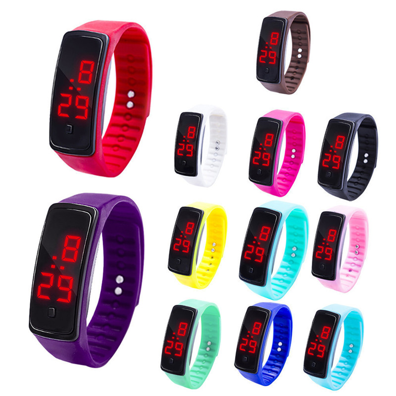 Hot Sale Casual Boy& Girls' Watch LED Digital Display Bracelet Watch Children's Students Silica Gel Sports Watch Clock For Child
