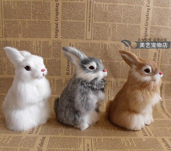 simulation rabbit 17x10cm model,polyethylene&furry fur rabbit handicraft toy home decoration Xmas gift b3747