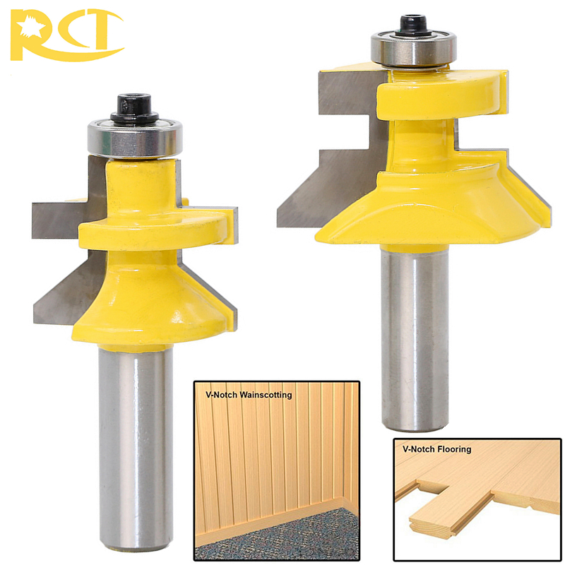 RCT 2pcs Bearings Lock Miter Router Bit Milling Cutters Carbide Wood Cutter For Plywood Woodworking Engraving Machine Tools 1 2 5 8 round nose bit for wood slotting milling cutters woodworking router bits