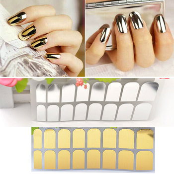 New Gold Silver Black Smooth Nail Art Beauty Sticker Patch Foils Armour Adhesive Full Wraps DIY Manicure Nail Decorations image