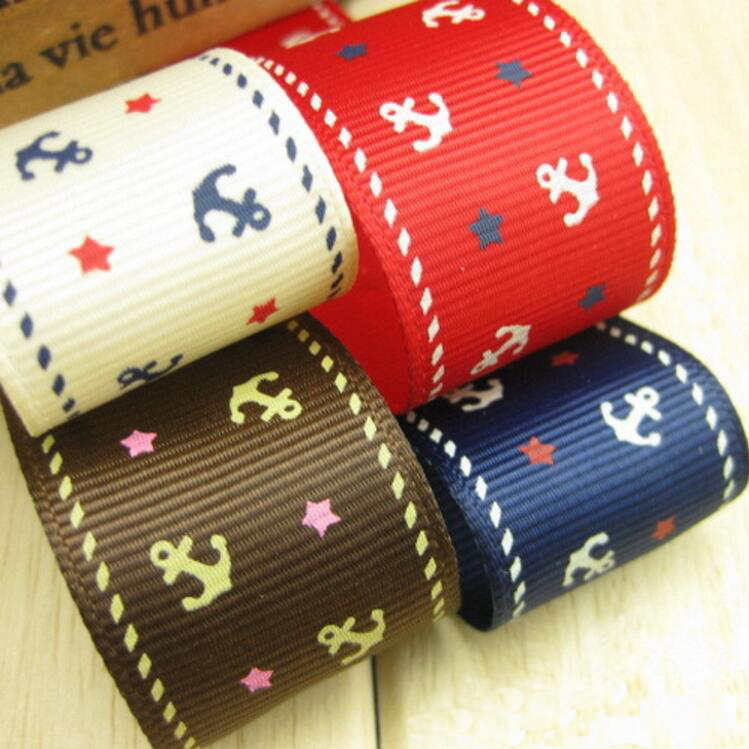 New Arrival 25mm Anchor Printed Color Grosgrian Ribbon DIY Hairbows Accessories Wedding Gift Wrap Decorative 20 Meter
