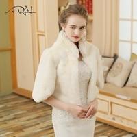 Adlnアイボリー女性ウェディングラップ冬暖かいコート高襟ブライ