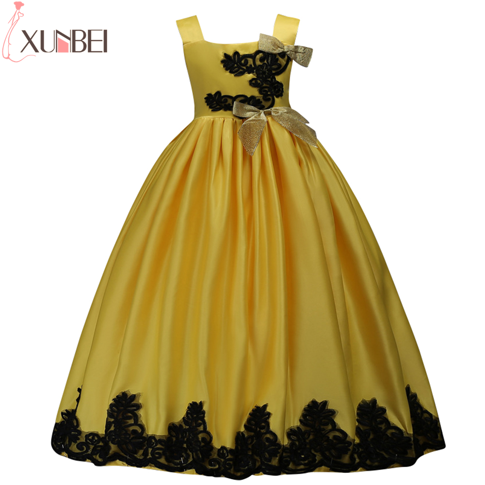 Lovely Yellow Satin   Flower     Girl     Dresses   2019 Lace Appliques Ball Gown Kids Evening   Dresses   For   Girls   First Communion   Dresses