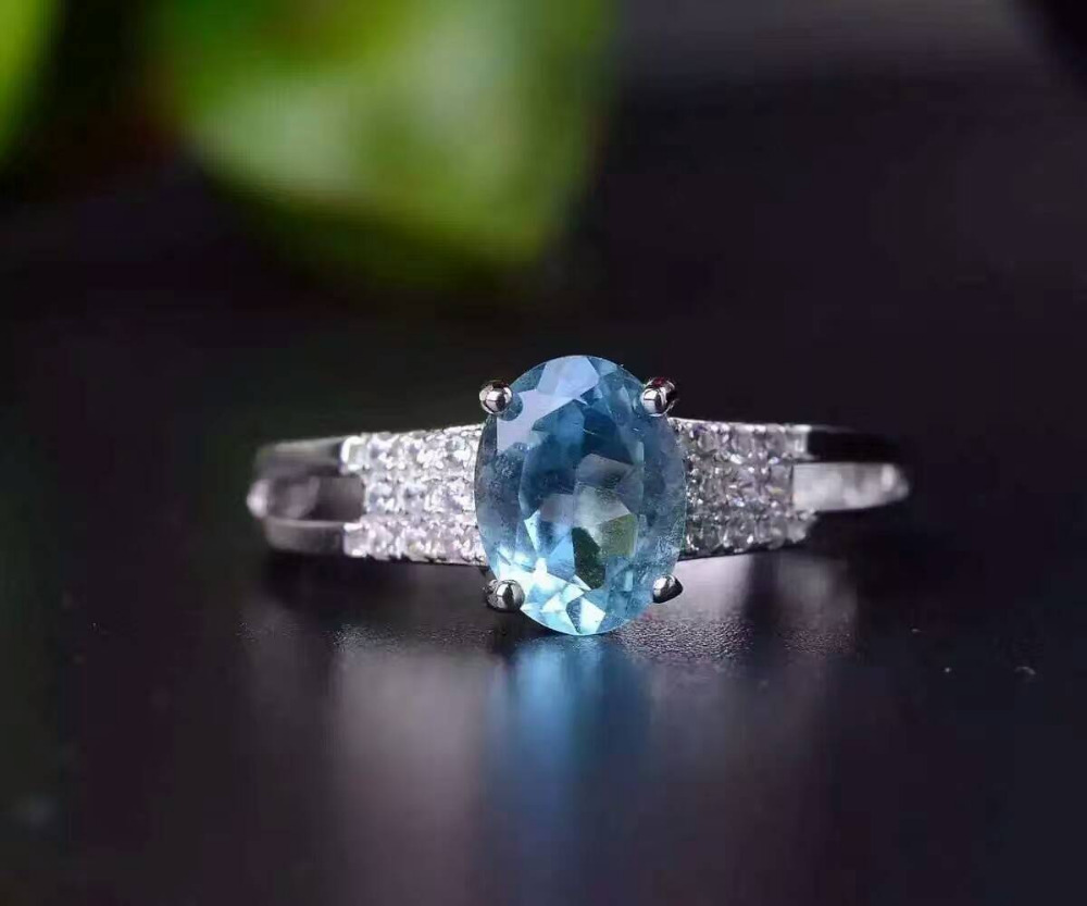 Natural blue topaz gem ring Natural gemstone ring S925 sterling silver ring trendy elegant romantic semicirce women gift Jewelry цена