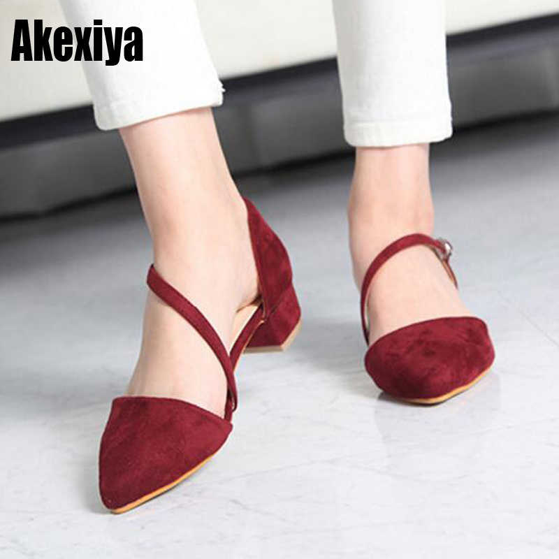 2019 Women Summer 3cm Low-heeled Sandals Pointed Toe Pumps Female Footwear  Buckle Sandals Yellow 55365ec9c0d8