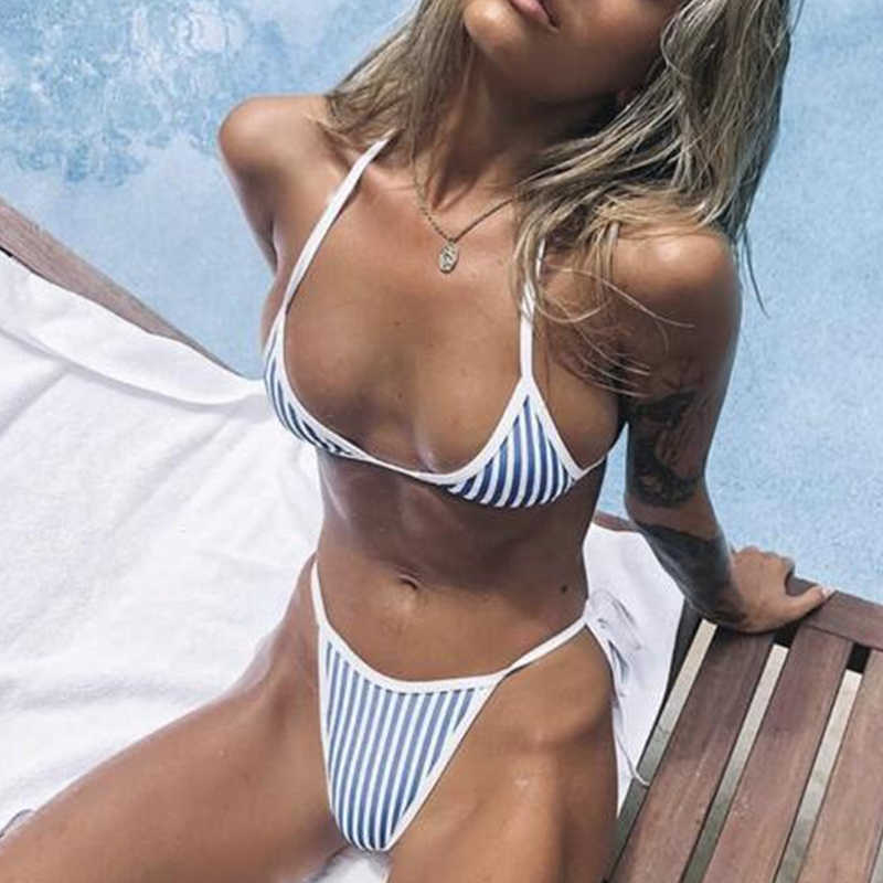 Curcuma Perizoma bikini 2019 delle donne della banda costumi da bagno string monokini con scollo a v costume da bagno Brasiliano Triangolo costume da bagno femminile push up