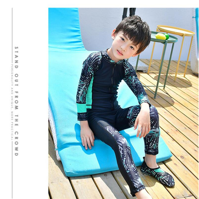 3f4ba62cd4 New baby boy Long sleeve front zip rashguard for kids UV sun protection swim  shirt+pants 2019 children surf rash guard swimsuit