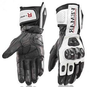 Image 1 - Uzun motosiklet eldivenleri erkek deri koruma yarış eldivenleri moto eldiven moto rbike eldiven 4 renk boyutu M L XL XXL