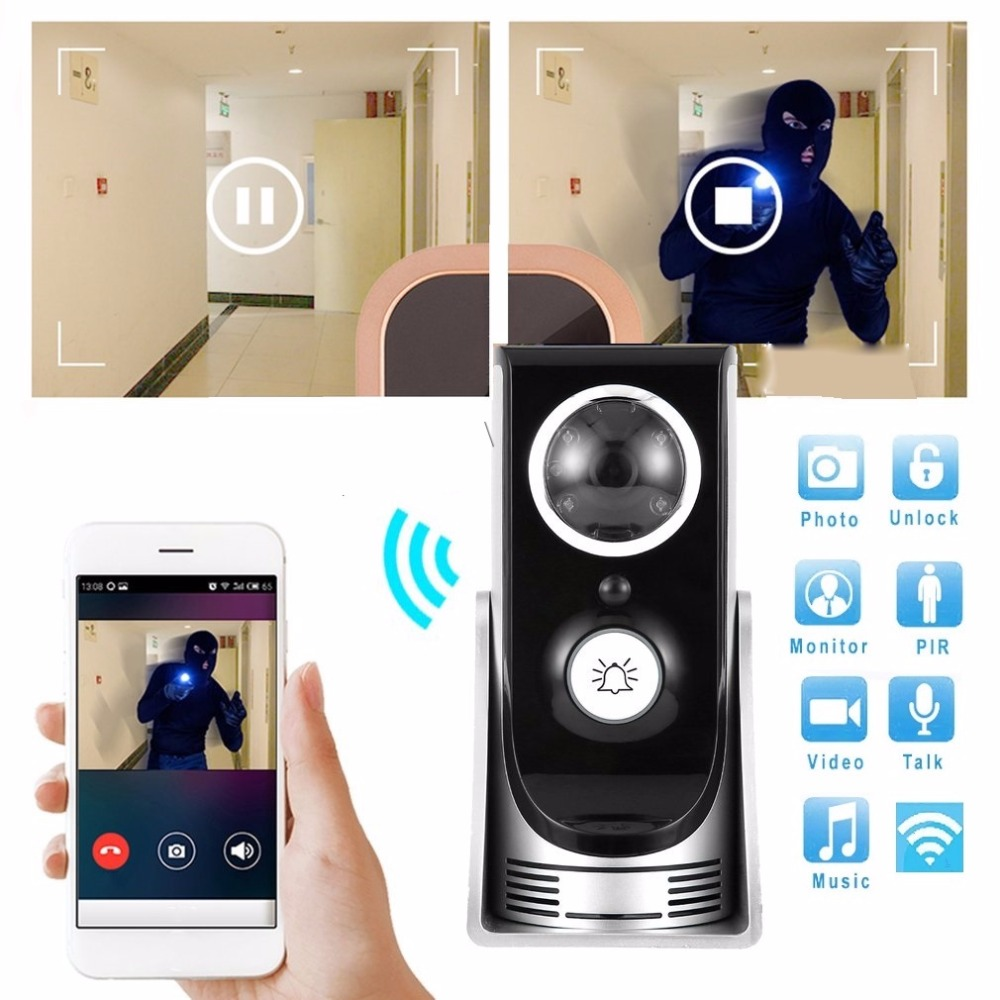 High Quality Wide Angle Wireless WiFi Doorbell Video Intercom Doorbell Mobile Phone APP Remote Control Unlock and MonitoringHigh Quality Wide Angle Wireless WiFi Doorbell Video Intercom Doorbell Mobile Phone APP Remote Control Unlock and Monitoring