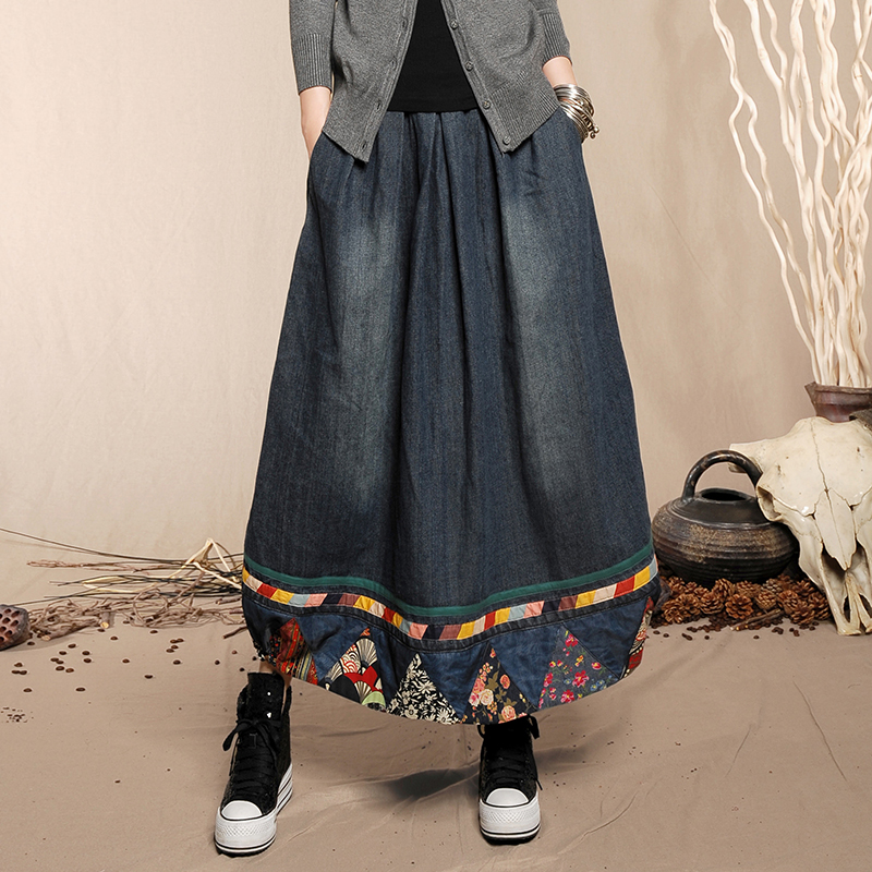 Darmowa wysyłka 2019 moda chiński styl długi Maxi linii elastyczny pas Plus Size kwiatowy Print Denim Jeans kobiety Patchwork spódnica w Spódnice od Odzież damska na  Grupa 2