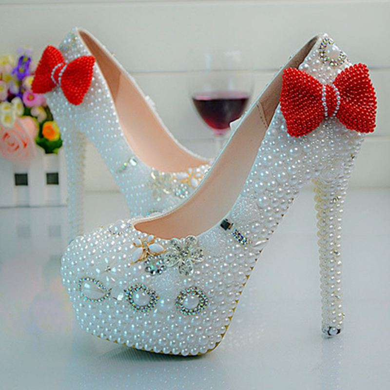 Red/Pink/Black Bowtie Women Wedding Shoes High Heels Custom White Pearls Bridal Shoes Platform Party Shoes Size EU34-40  No.4450 customize rhinestone blue enchantress pearls wedding shoes high heels slip on bridal shoes platform shoes no71