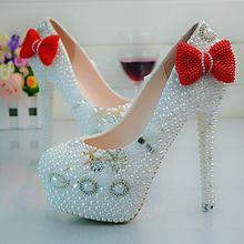 Red Pink Black Bowtie Women Wedding font b Shoes b font High Heels font b Custom