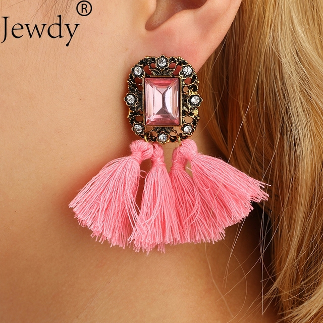 2018 Ethnic Vintage Accessories Long Drop Tassel Earrings For Women Rhinestone fringed earrings brincos Maxi Fashion Jewelry