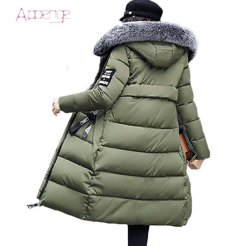 APOENGE Winter Women's Jacket 2017 New Hooded Cotton Long Jackets Fur Collar Slim Women Parkas Ladies Outwear Snow Coats LZ479 snow wear 2017 high quality winter women jacket cotton coats fur collar hooded parkas fashion long thick femme outwear cm1346