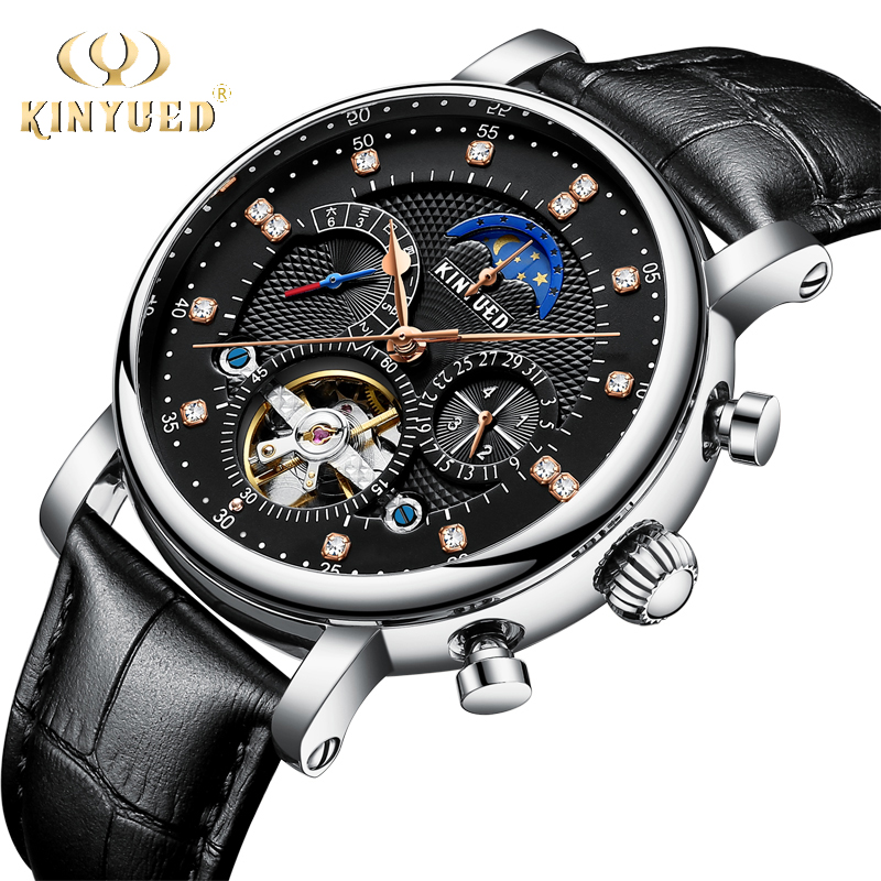 KINYUED Fashion Brand Tourbillon Watch Men Luxury Genuine Leather Automatic Man Mechanical Watches Moon phase Calendar