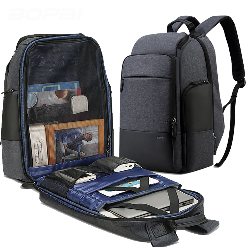 Bopai marca mochila de viagem dos homens alta capacidade multifuncional carregamento usb para 17 polegada portátil mochila anti roubo negócios - 2