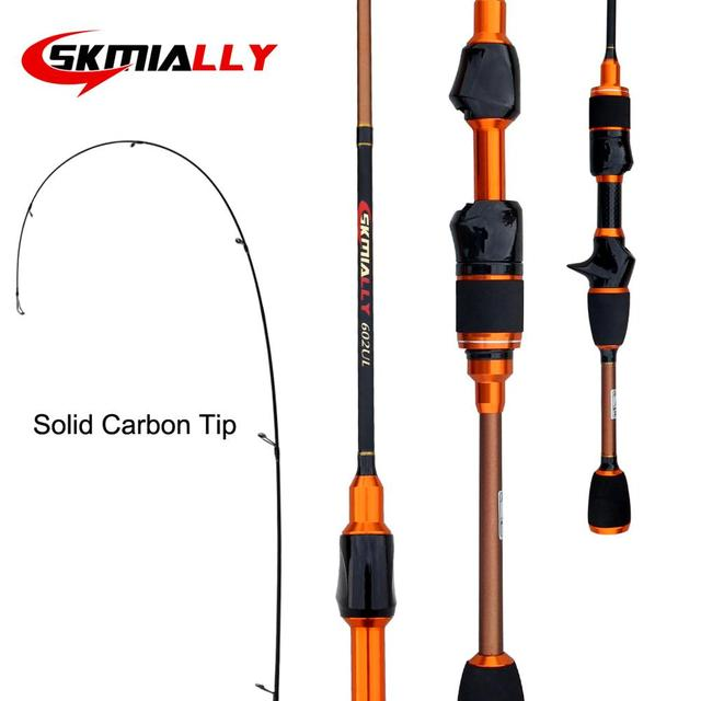 Skmially carbon ul spinning rod 1.8m 1.68m0.8 5g ultralight spinning rods ultra light casting spinning fishing rod vara de pesca