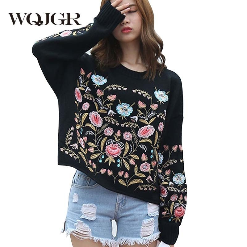 WQJGR 2018 News Autumn And Winter Heavy Flower Round Neck Knitting Sweater Woman And Pullover