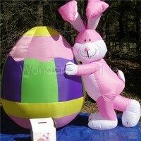 Новый Airblown прототип 10'Tall гигантские освещенные декорированные кролики и яйцо для праздничного украшения