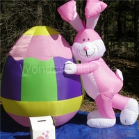 NEW Airblown Prototype 10'Tall Giant Lighted Easter Bunny Rabbit & EGG For Holiday Decoration