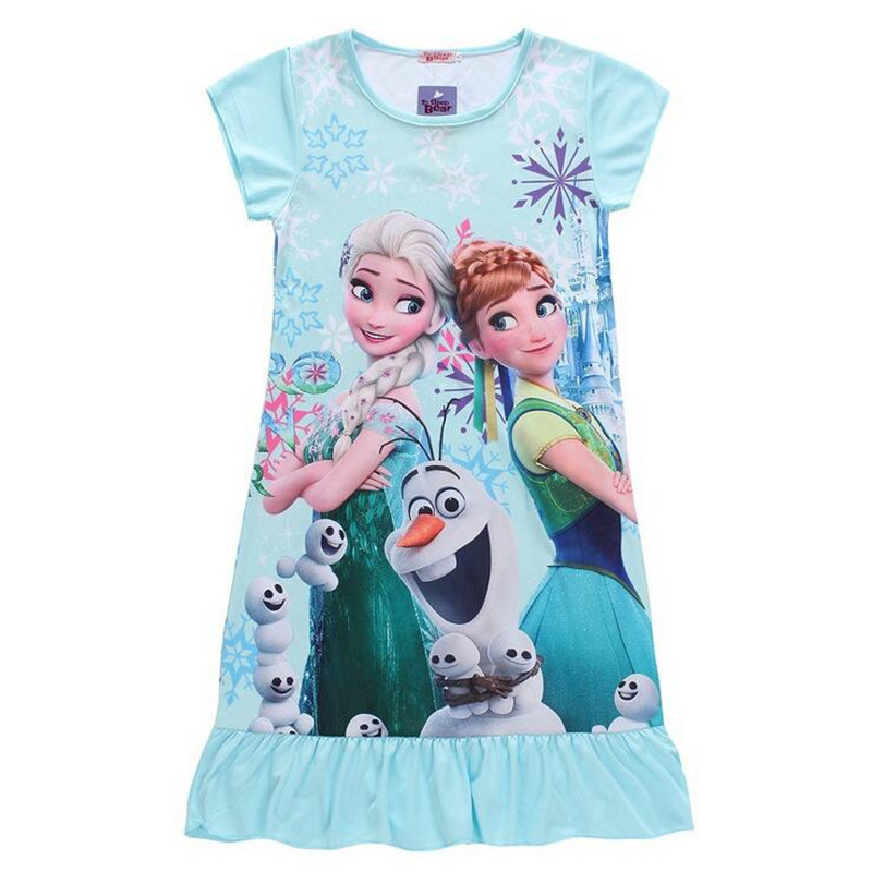 2-9 years girls pajamas girls dress princess sleep wear cotton dress for summer short sleeve Clothes children kids clothing
