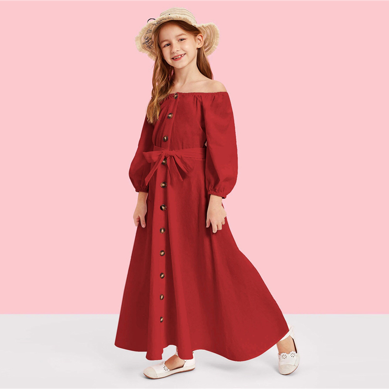 Image 3 - SHEIN Kiddie Off the Shoulder Button Front Belted Maxi Casual Girls Dress 2019 Summer Long Sleeve Fit and Flare Kids Dresses-in Dresses from Mother & Kids