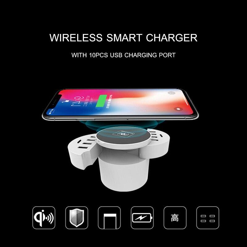 Chargeur de bureau multifonction 10 ports Qi 3.2/2.0 chargeur sans fil Mobile 40 W puissance 5 V/8A chargeur rapide prise EU/US/UK