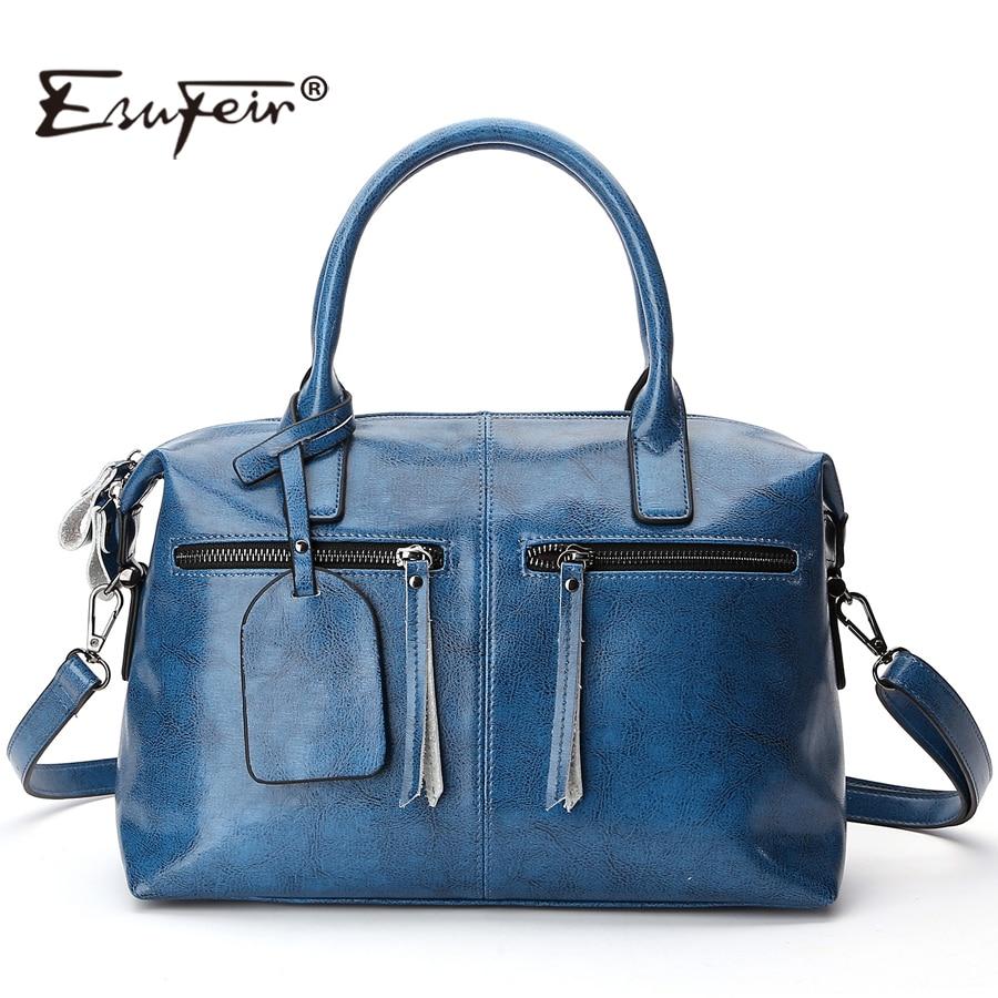 2019 ESUFEIR Brand Genuine Leather Boston Women Handbag Fashion Oil Wax Leather Women Shoulder Bag Solid Zipper Women Pillow Bag