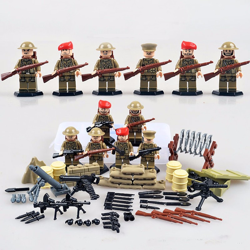 6pcs British Army World War 2 Military Soldier SWAT Weapon Gun CS Marine Corps Building Blocks Boy Educational Toy Gift Children