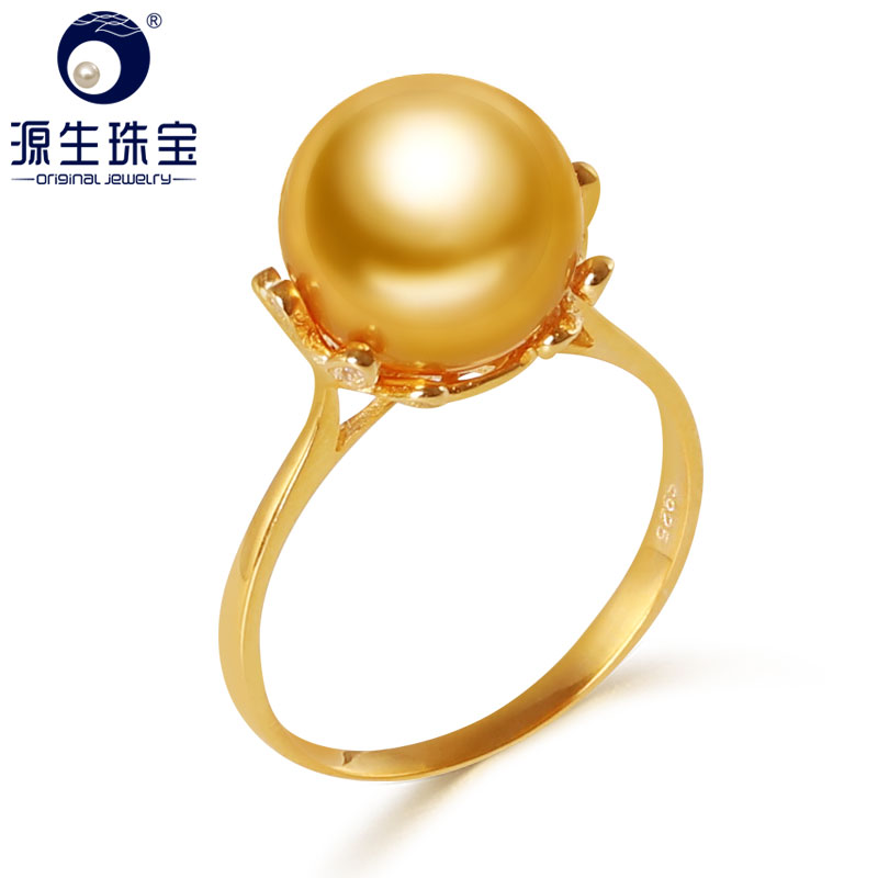 YS 10 11mm Natural Gold South Sea Cultured Pearl Ring 925 Sterlng Silver Pearl Ring For