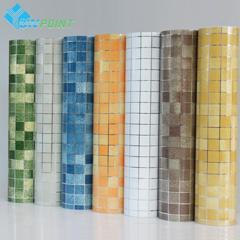 Bathroom wall stickers PVC mosaic wallpaper kitchen waterproof tile stickers plastic vinyl self adhesive wall papers home decor grille
