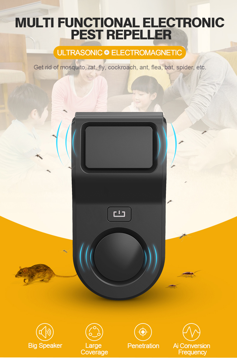 Pest Repellers Ultrasonic Electronic Pest Control Rat Repeller also for Cockroach Mosquito Fly Bat Bird Spider Reject Killer 1pc Repellents     - title=