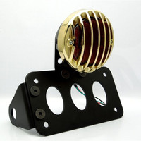 Red Motorcycle 12V LED Tail Brake Light Side Mount License Plate Bracket Lamp For Harley Choppers