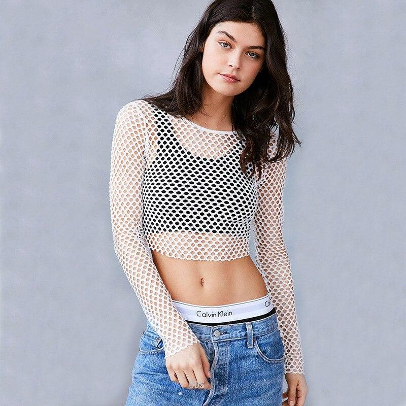 Women white summer beach fishnet t shirts Hollow Out Mesh Bodysuit mesh shirt o neck long sleeve tee tops see through sexy