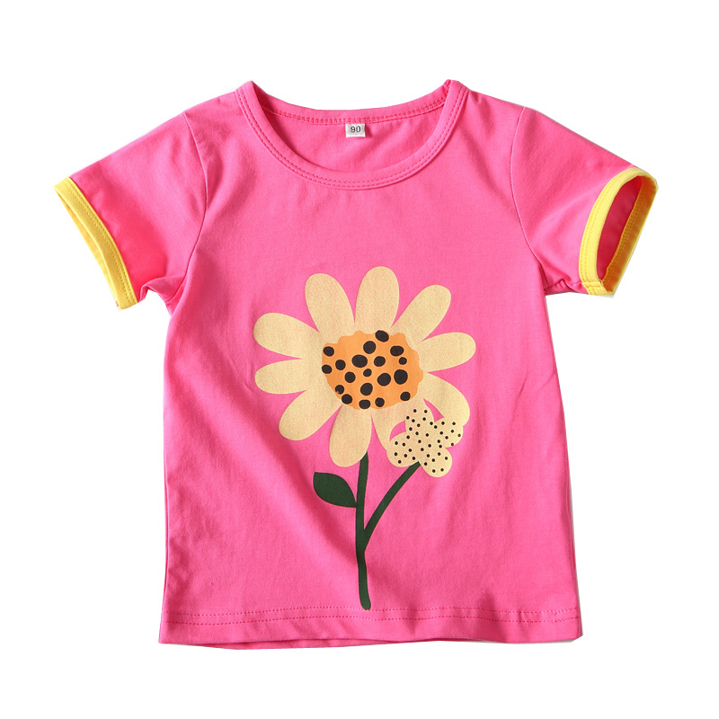 2018 Cute Cotton Girls T shirt Kids Tees Summer Short Sleeve Girl Sun Flower Print Tops Cartoon Children Chothes BC040