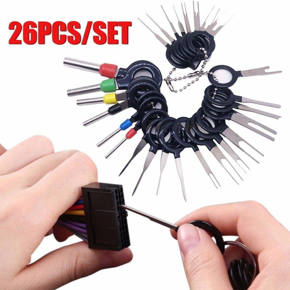 26Pcs Car Terminal Removal Hand Tools Wire Plug Connector Extractor Puller Release Pin Extractor Kit