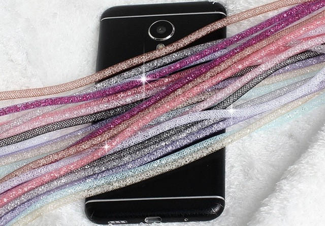 LaMaDiaa Crystal Neck Necklace Strap Lanyard U Disk ID Work Card Mobile Cell Phone Chain Straps Keychain Phone Hang Rope