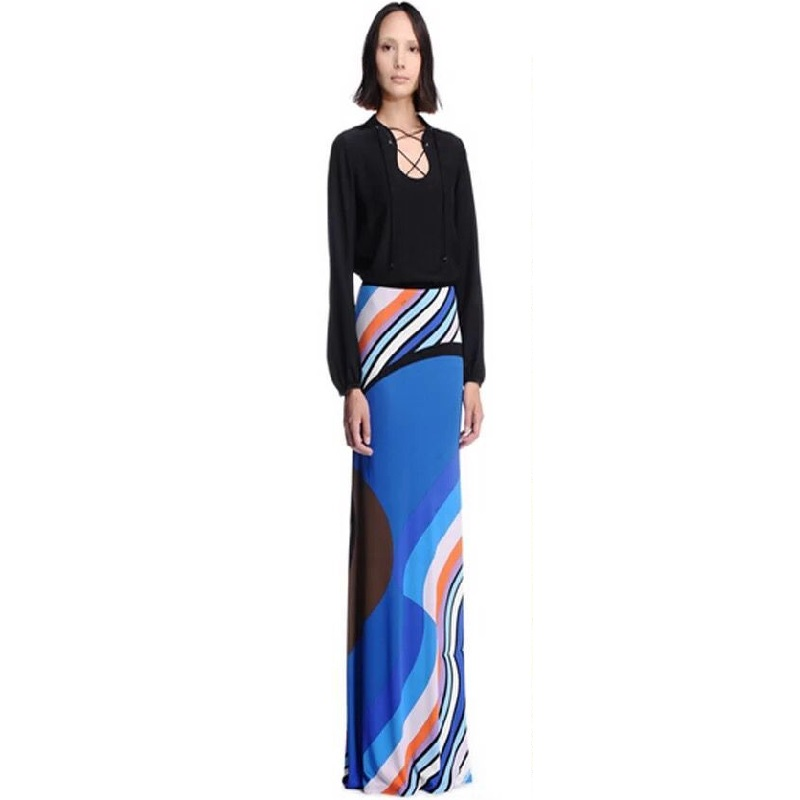 European and American new dresses fashion false two-piece knitted elastic high-end printed long dress