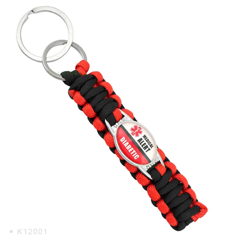 Diabético tipo 1 2 Alerta Médica Rojo Negro 25*18mm cristal cabujón Paracord supervivencia llavero joyería mujeres hombres regalo
