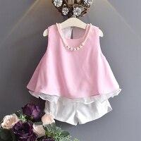 Hot Selling Girls Clothing Set Chiffon Ruffle Pink Sky Blue Tops White Shorts Princess Style Vintage