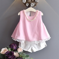 Hot Selling Girls Clothing Set Chiffon Ruffle Pink Sky Blue Tops White Shorts Princess Style Vintage